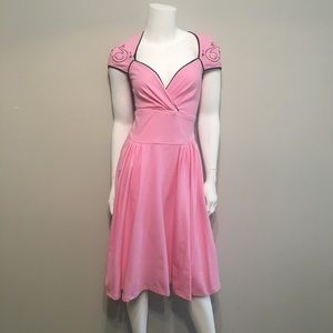 Pinup Couture pink embroidered swan dress NWT